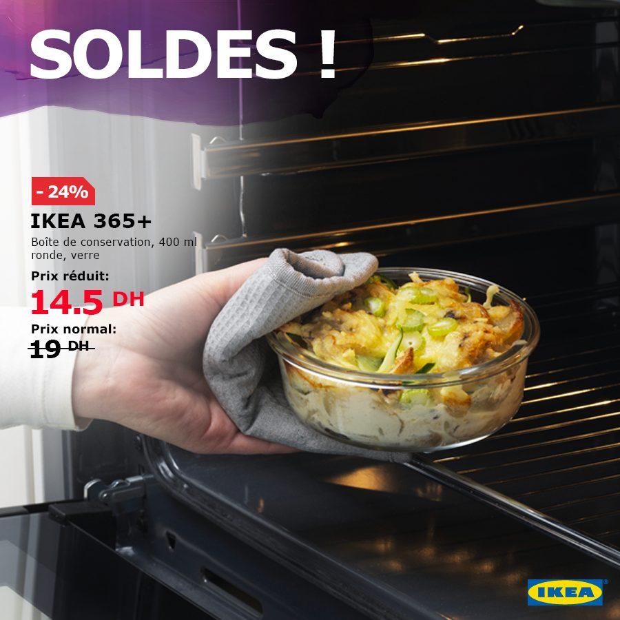 Soldes Ikea Maroc Boîte de conservation IKEA 365+ ronde verre 14.50Dhs au lieu de 19Dhs