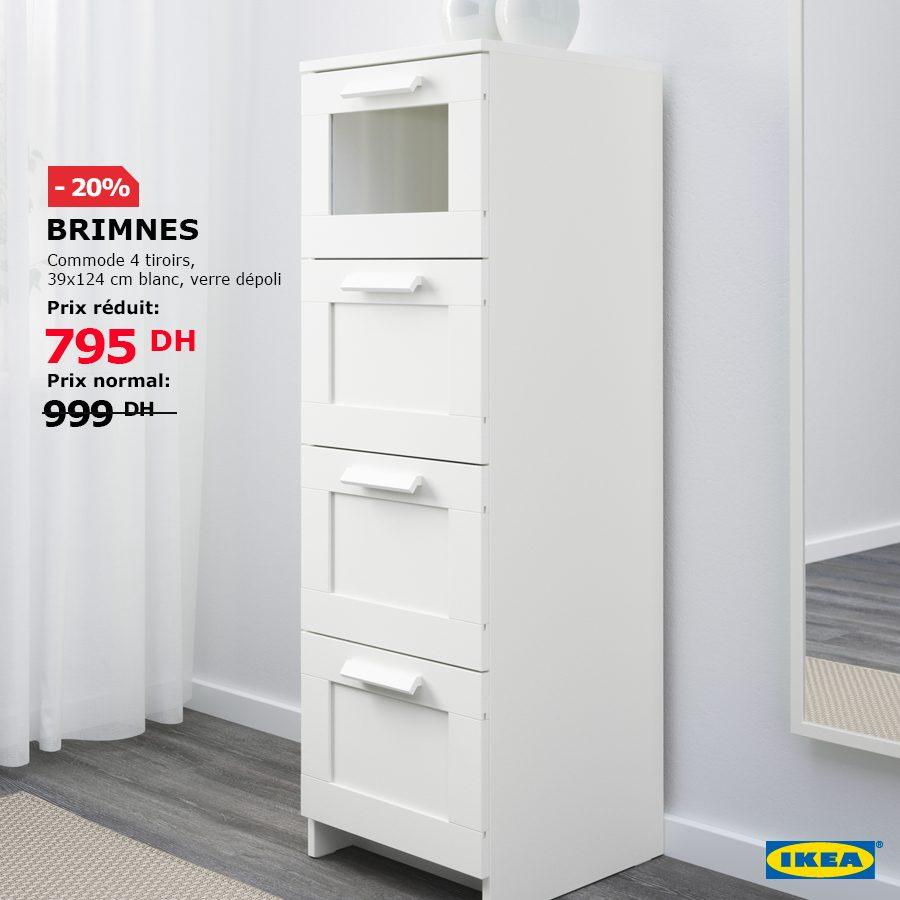Promo Ikea Maroc Commode BRIMNES 4 tiroirs 795Dhs au lieu de 999Dhs