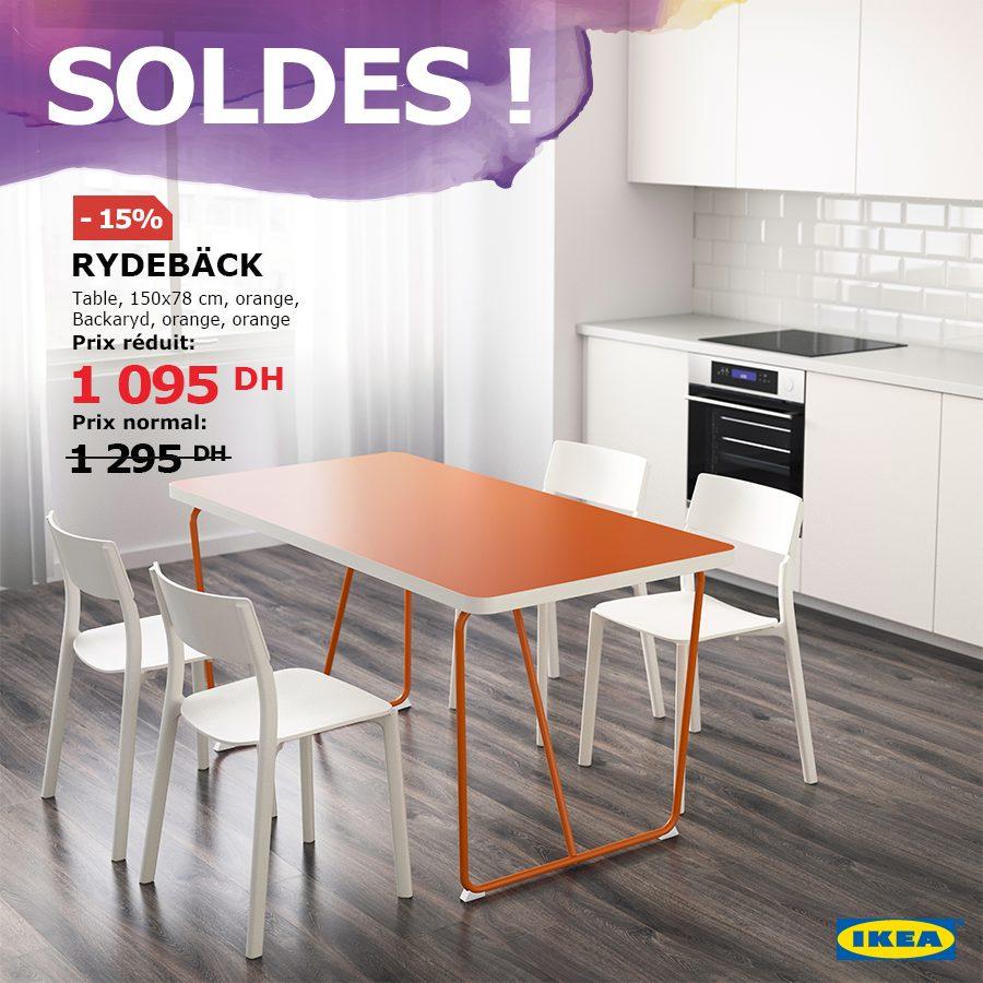 Soldes Ikea Maroc Table RYDEBÄCK orange Backaryd orange 1095Dhs au lieu de 1295Dhs
