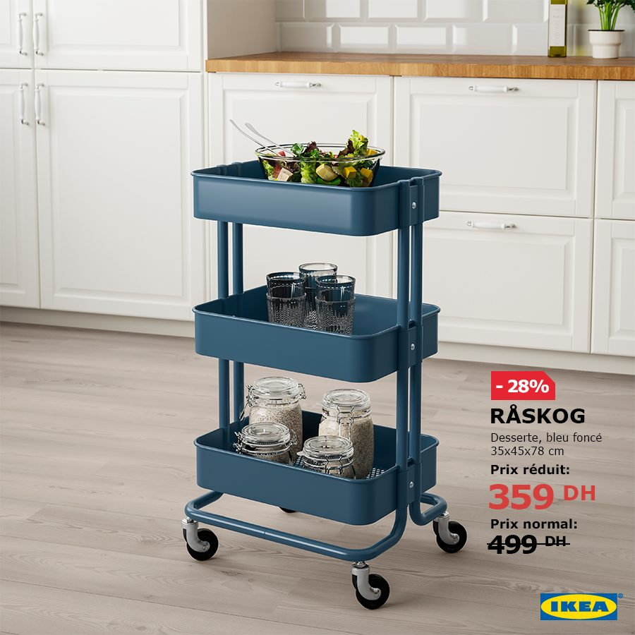 Soldes Ikea Maroc Desserte mobile RASKOG 359Dhs au lieu de 499Dhs