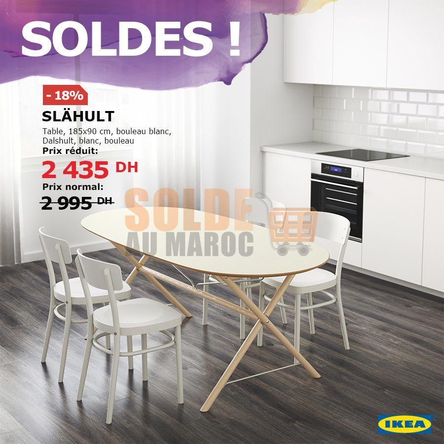 Soldsd Ikea Maroc Table SLÄHULT / DALSHULT bouleau blanc 2435Dh au lieu de 2995Dhs