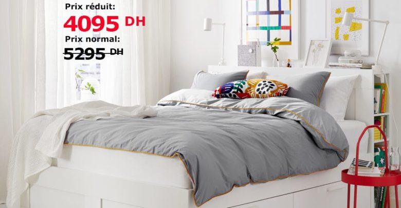 Photo of Soldes Ikea Maroc Cadre et tête de lit avec rangement BRIMNES 4095Dhs au lieu de 5295Dhs