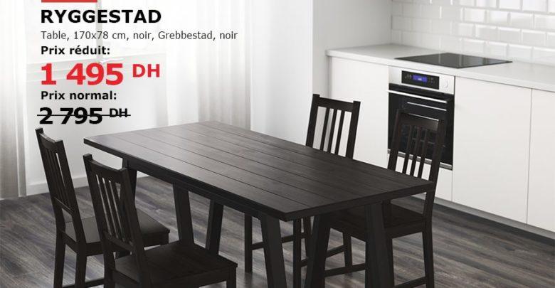 Photo of Soldes Ikea Maroc Table RYGGESTAD noir Grebbestad noir 1495Dhs au lieu de 2795Dhs