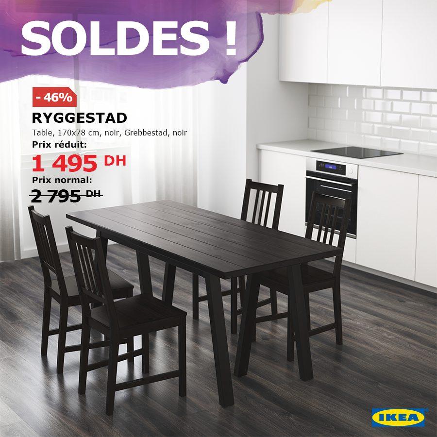 Soldes Ikea Maroc Table RYGGESTAD noir Grebbestad noir 1495Dhs au lieu de 2795Dhs