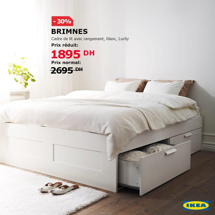 Soldes Ikea Maroc Cadre lit avec rangement BRIMNES 1895Dhs au lieu de 2695Dhs