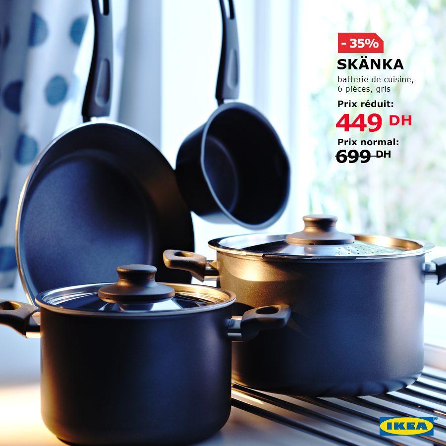 Solde Ikea Maroc Batterie cuisine 6 pièces SKANKA 449Dhs au lieu de 699Dhs