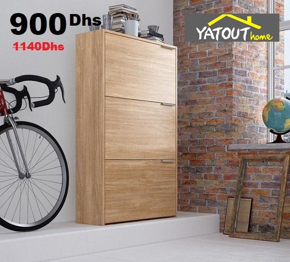 Soldes Yatout Home Meuble Chaussure 3 Abattant Chêne 900Dhs au lieu de 1140Dhs