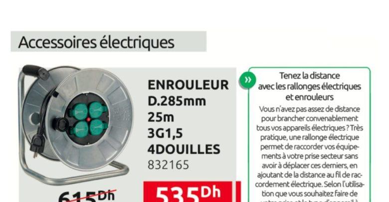 Promo Mr Bricolage Maroc Enrouleur 25m 535Dhs au lieu de 615Dhs