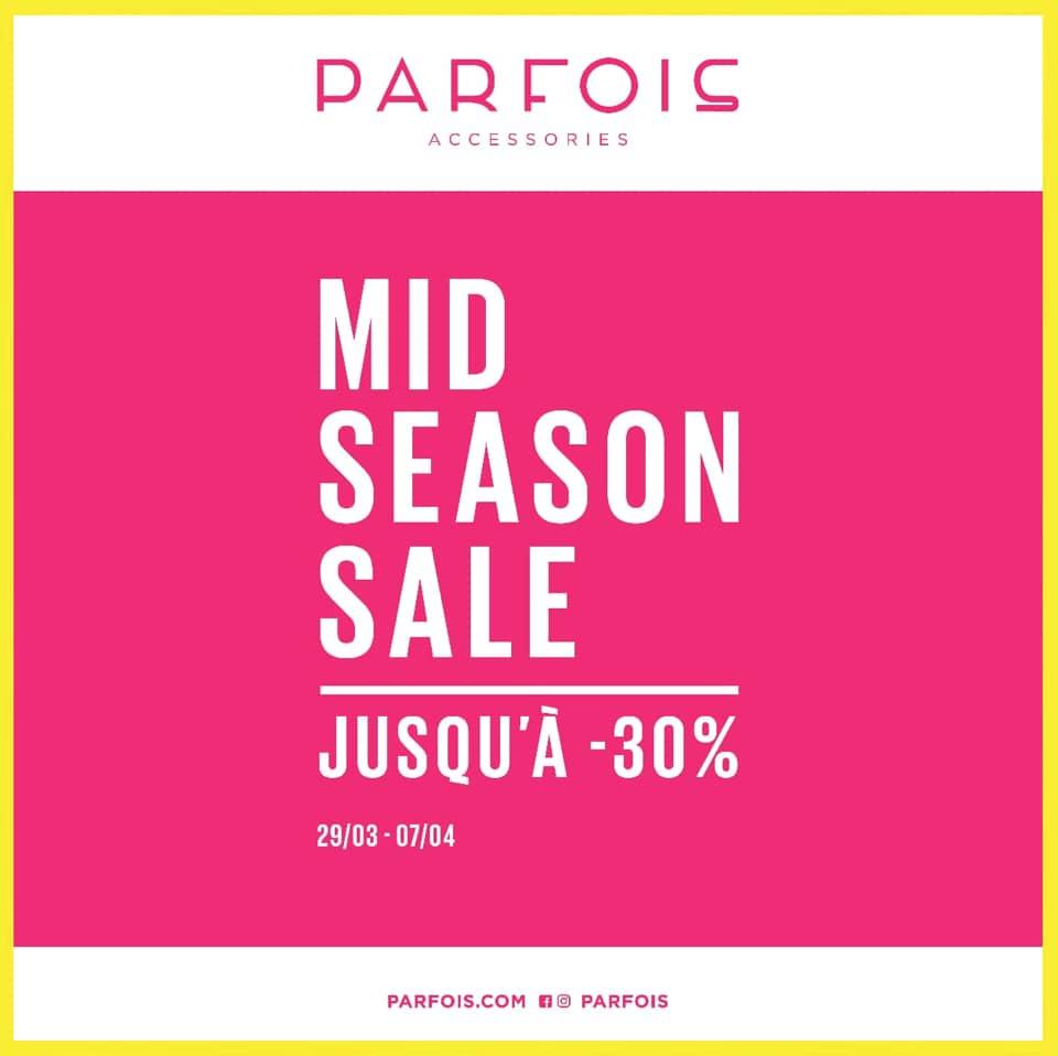 Soldes Mi-saison Parfois Maroc jusqu'à -30% du 29 Mars au 7 Avril 2019