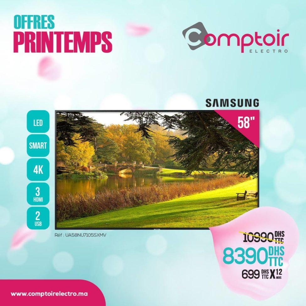 Soldes Le Comptoir Electro Smart TV 58° 4K 8390Dhs au lieu de 10990Dhs