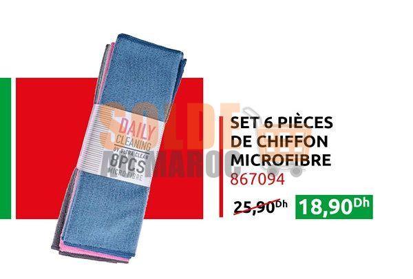Promo Mr Bricolage Maroc Set 6 Pièces de chifon Microfibre 25.90Dhs au lieu de 18.90Dhs