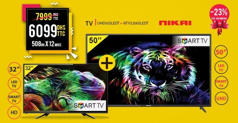 Photo of Promo Electro Bousfiha Pack Smart TV 32″ et 50″ NIKAI 6099Dhs au lieu de 7999Dhs