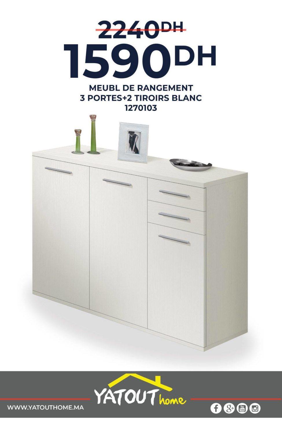 Promo Yatout Home Meuble rangement 3 portes + 2 tiroirs blanc 1590Dhs au lieu de 2240Dhs