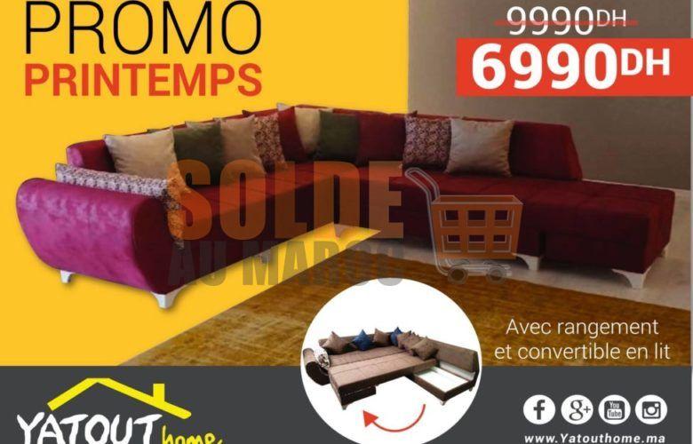 Promo Printemps Yatout Home Salon RUTASO avec rangement 6990Dhs au lieu de 9990Dhs