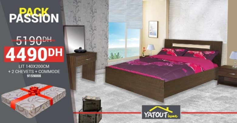 Photo of Promo Yatout Home Pack Passion Lit 140×200 + 2 chevets + commode 4490Dhs au lieu de 5190Dhs