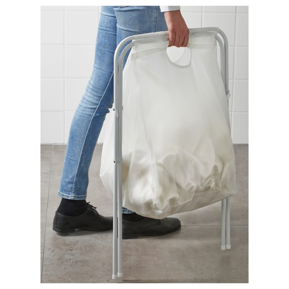 Soldes Ikea Maroc Sac à linge et support JÄLL blanc 32Dhs au lieu de 42Dhs