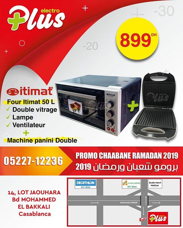 Promo Electroplus Offre Chaabane Ramadane 2019 Four Etimate 50L + Panini 899Dhs