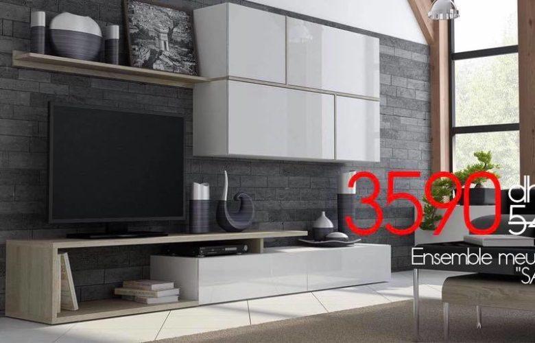 Soldes Azura Home Ensemble Meuble TV SAKIA 3590Dhs au lieu de 5489Dhs