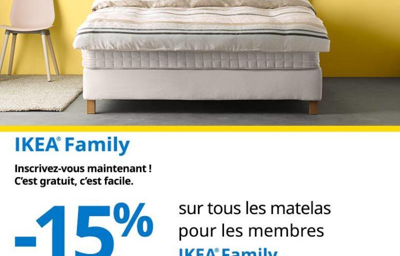Promo Ikea Family -15% réduction Matelas du 24 au 30 Avril 2019