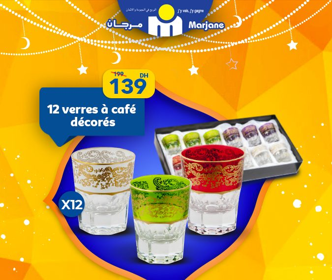 Soldes Marjane Divers set verres de thé à partir de 26Dhs