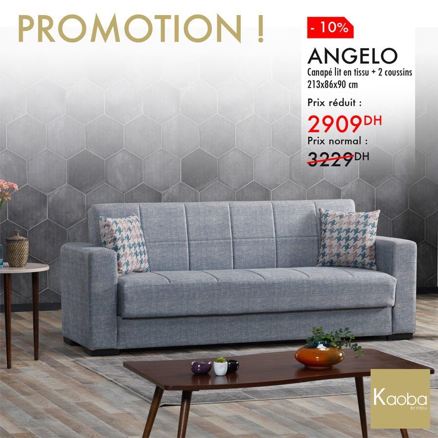 Promo Kaoba Ameublement Canapé lit + 2 coussins ANGELO 2909Dhs au lieu de 3229Dhs
