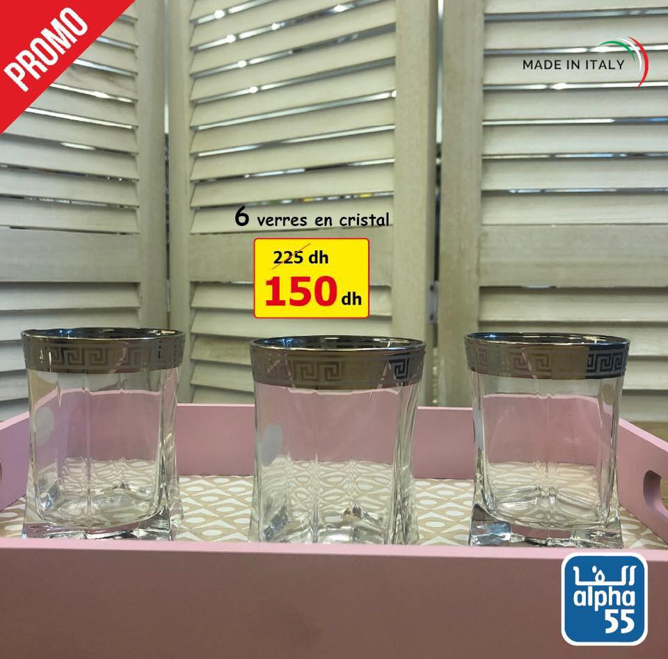 Promo Alpha55 magnifiques verres en cristal made in Italy à partir de 100Dhs