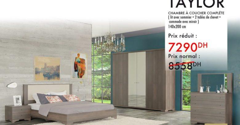 Photo of Promo Kaoba Ameublement Chambre à coucher complète TAYLOR 7290Dhs au lieu de 8558Dhs