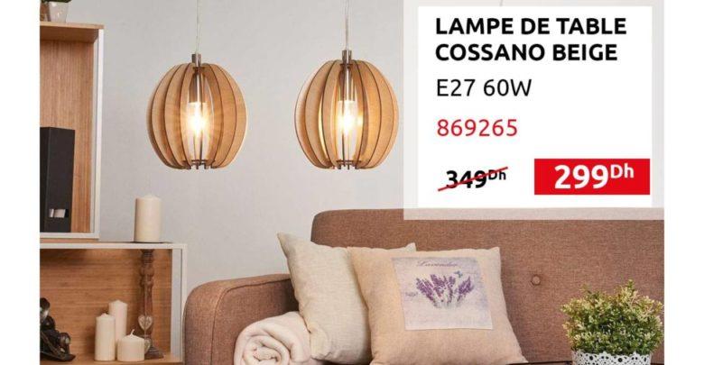 Photo of Promo Mr Bricolage Maroc Lampe de table COSSANO Beige 299Dhs au lieu de 349Dhs
