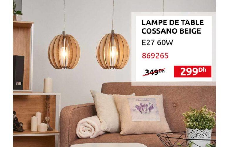 Promo Mr Bricolage Maroc Lampe de table COSSANO Beige 299Dhs au lieu de 349Dhs