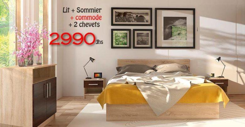 Photo of Promo Azura Home Pack RENNES Lit + sommier + 2 chevets + commode 2990Dhs au lieu de 4390Dhs