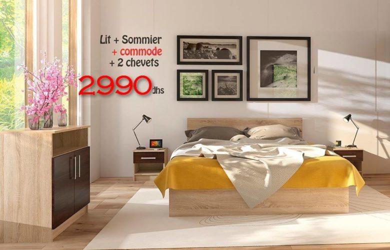 Promo Azura Home Pack RENNES Lit + sommier + 2 chevets + commode 2990Dhs au lieu de 4390Dhs