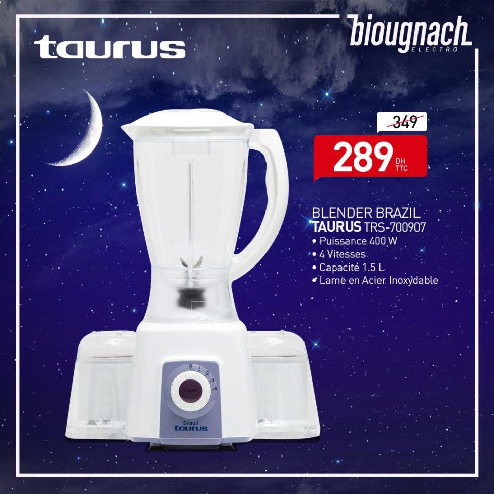 Promo Biougnach Electro Blender Brazil 4 Vitesses TAURUS 289Dhs au lieu de 349Dhs