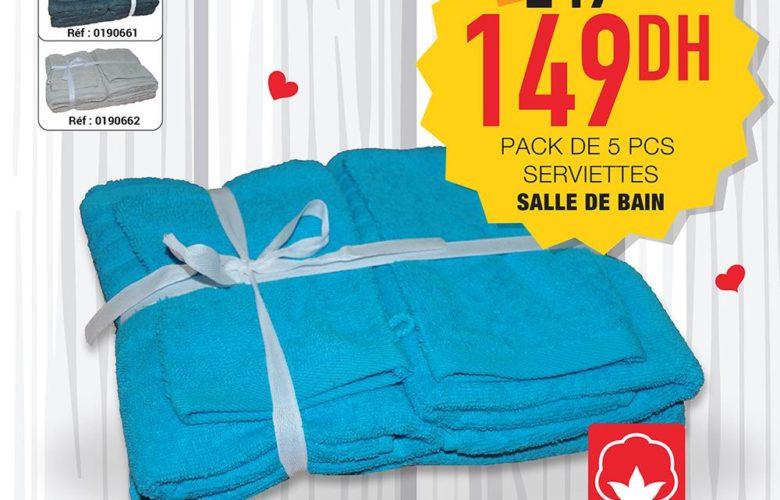 Promo Yatout Home Pack de 5 PCS Serviettes salle de bain 149Dhs au lieu de 249Dhs
