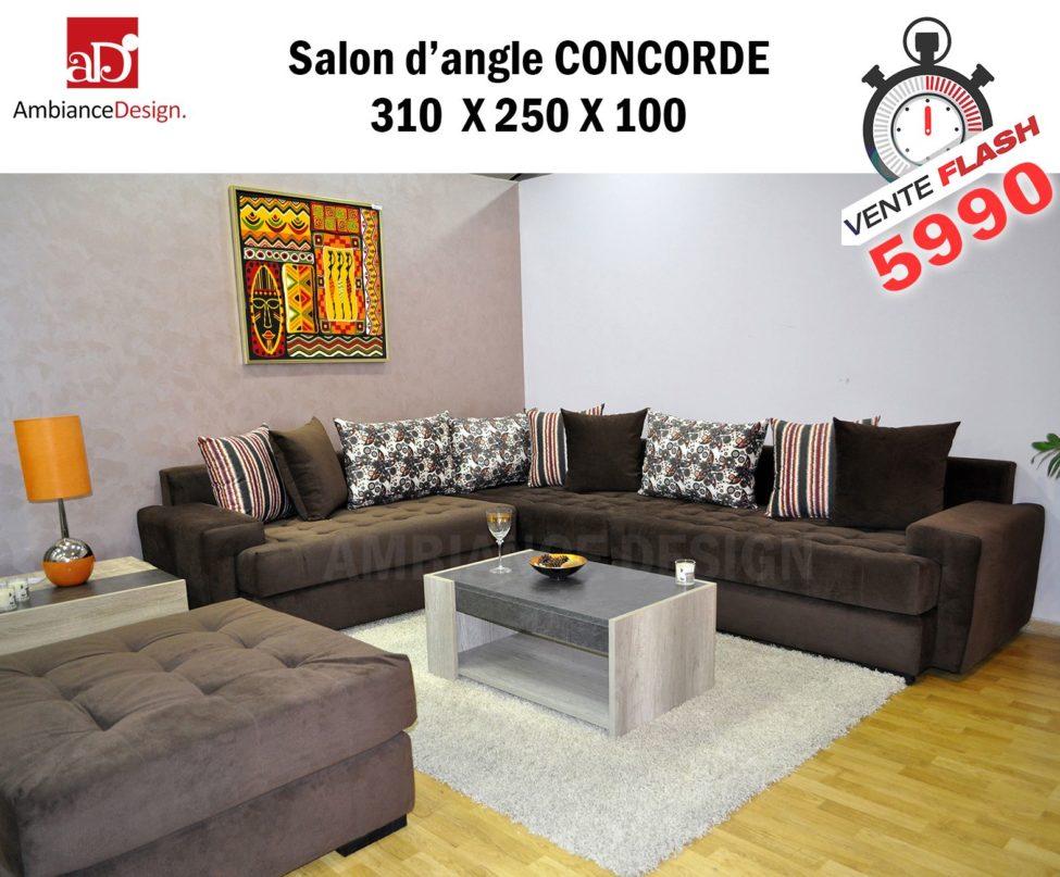 Promo Ambiance Design Salon d'angle CONCORDE 5990Dhs au lieu de 8000Dhs
