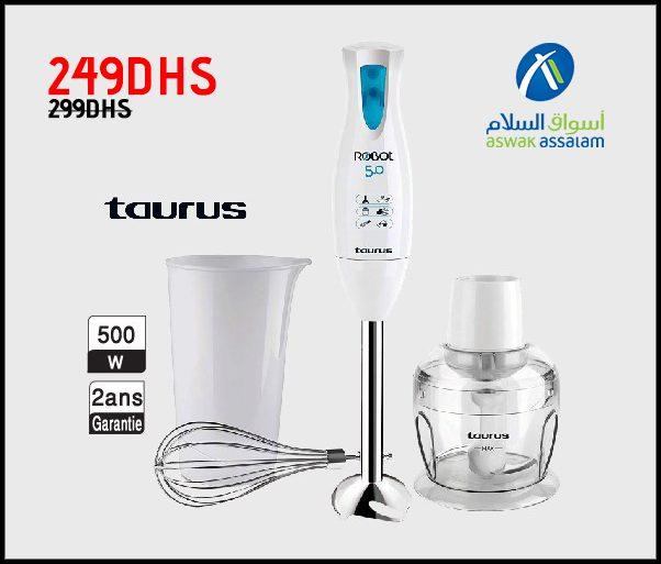 Promo Aswak Assalam MIXEUR PLONGEANT+ACCESSOIRES Taurus 249Dhs au lieu de 299Dhs