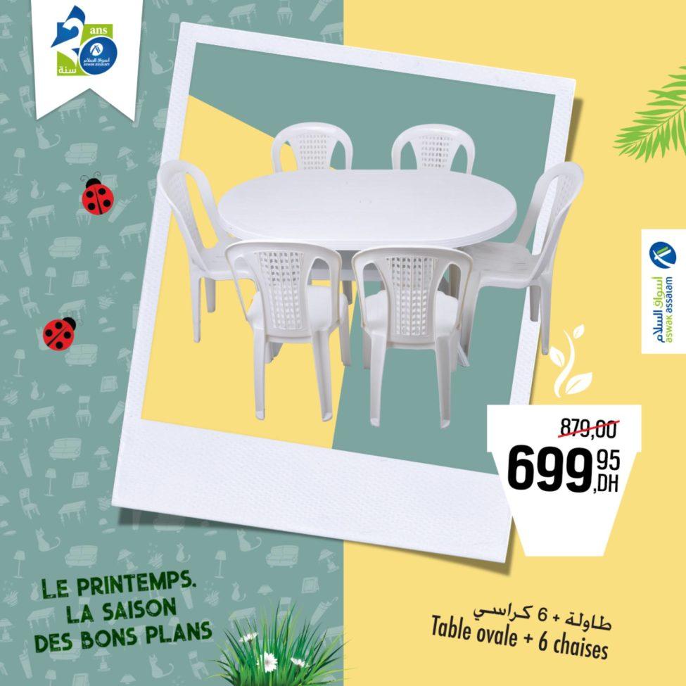Soldes Aswak Assalam Table ovale + 6 chaises 699Dhs au lieu de 879Dhs
