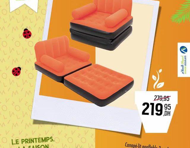 Soldes Aswak Assalam Canapé-lit gonflable 2 en 1 MULTI-MAX 219Dhs au lieu de 279Dhs