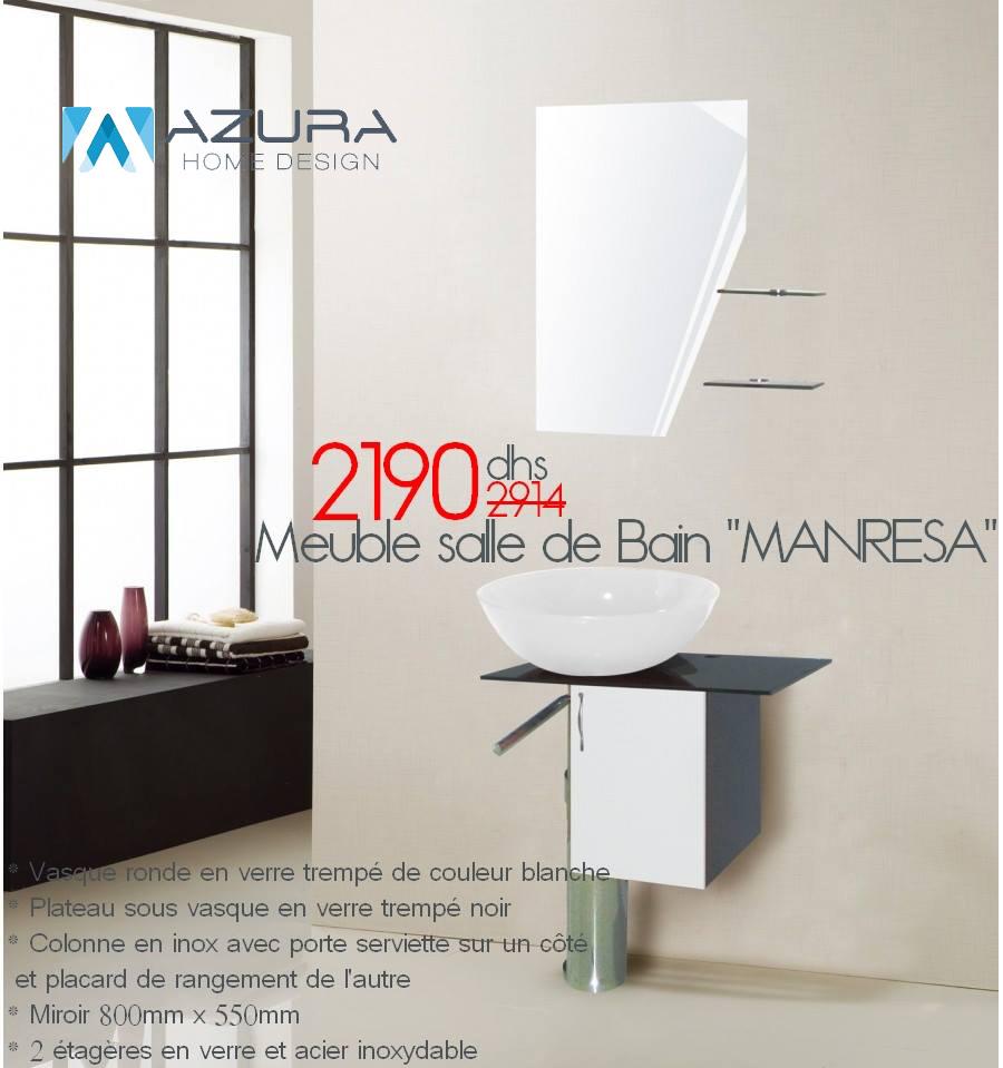 Soldes Azura Home Meuble salle de bain MANRESA en blanc 2190Dhs au lieu de 2914Dhs