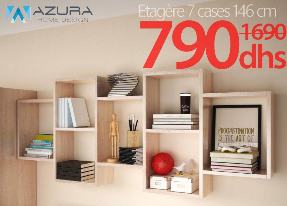 Soldes Azura Home Étagère murale 7 cases 146x65cm 790Dhs au lieu de 1690Dhs