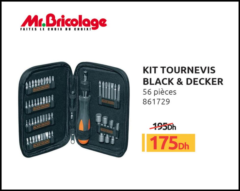Promo Mr Bricolage Maroc Kit Tournevis BLACK & DECKER 56 Pièces 175Dhs au lieu de 195Dhs