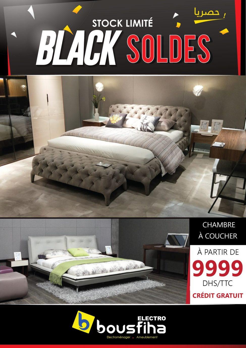 BLACK SOLDES BOUSFIHA AMEUBLEMENT Chambre à coucher à partir de 9999Dhs