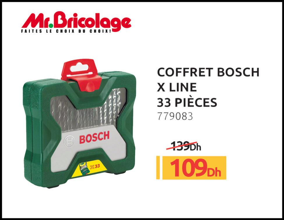 Promo Mr Bricolage Maroc Coffret BOSCH X LINE 33 pièces 109Dhs au lieu de 139Dhs