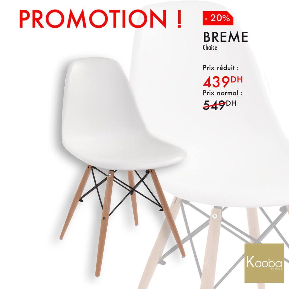 Promo Kaoba Ameublement Chaise BREME confort au millimètre 439Dhs au lieu de 549Dhs