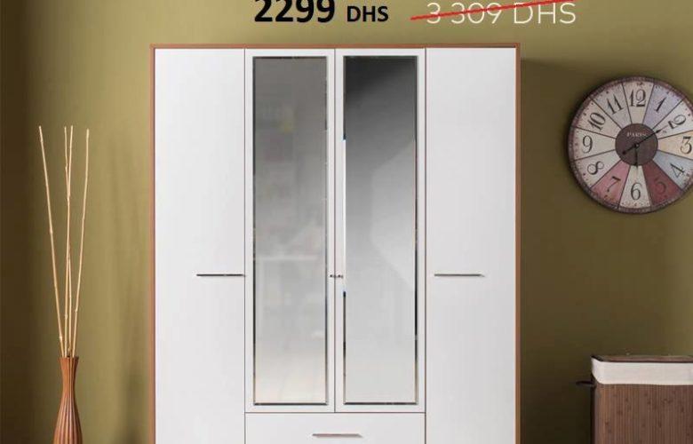 Liquidation Kaoba Ameublement Armoire 4 portes CANDY 2299Dhs au lieu de 3309Dhs