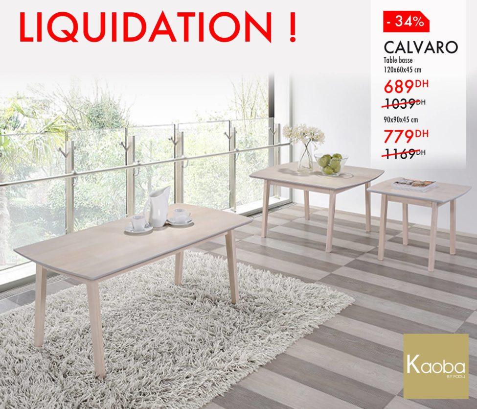 Liquidation Kaoba Ameublement Table basse CALVARO à partir de 689Dhs