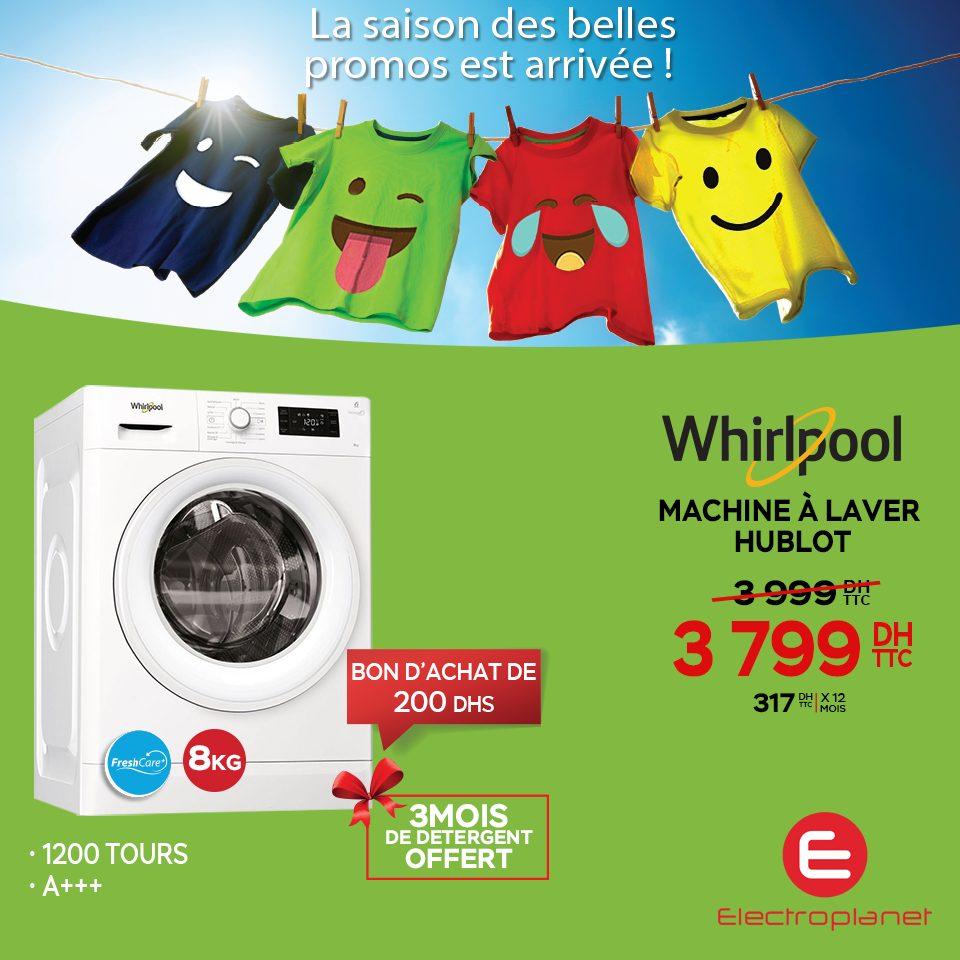 Promo Electroplanet Lave-linge Whirlpool 8Kg 3799Dhs au lieu de 3999Dhs