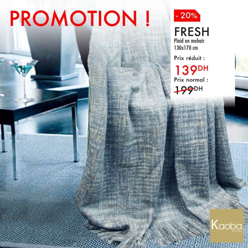 Promo Kaoba Ameublement Plaids FRESH et VINTER à partir de 139Dhs