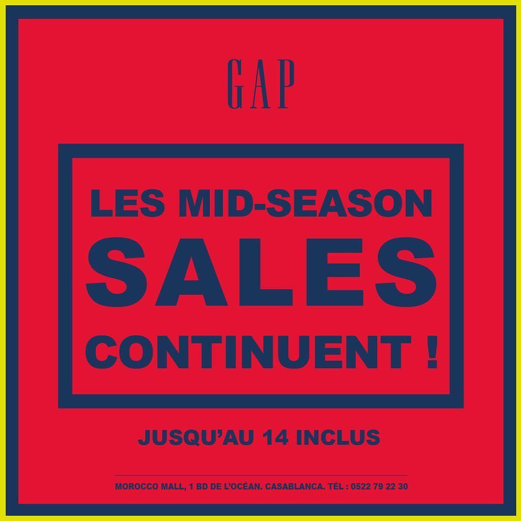 Solde Mi-saison du printemps GAP Maroc jusqu'au 14 Avril 2019