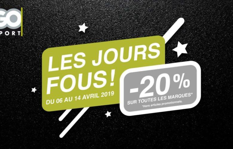 Les Jours Fous Go Sport Maroc 20% de remise jusqu'au 14 Avril 2019