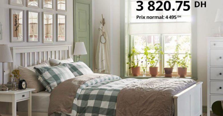 Soldes Ikea Family Cadre de lit Blanc laqué HEMNES 3820Dhs au lieu de 4495Dhs